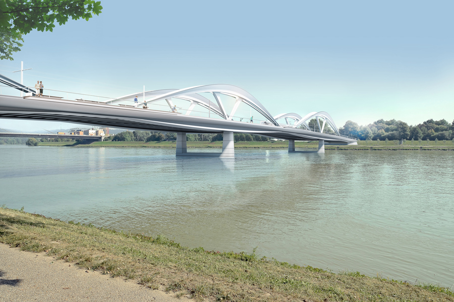 Infrastruktur Brücken für Linz 03 © Marc Mimram Architecte